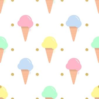 Gelado sem costura colorido em um cone de waffle com brilho de ponto dourado no fundo branco