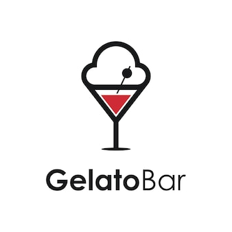 Gelato e cocktail de vinho em vidro bar simples, elegante, criativo, geométrico, moderno, logotipo
