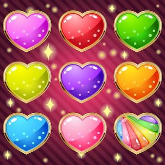 Geléia de corações em ouro de borda para jogo de quebra-cabeça de correspondência.