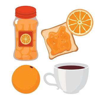 Geléia de laranja, torrada, xícara de café.