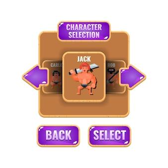 Geléia de madeira de seleção de personagem de interface do usuário do jogo