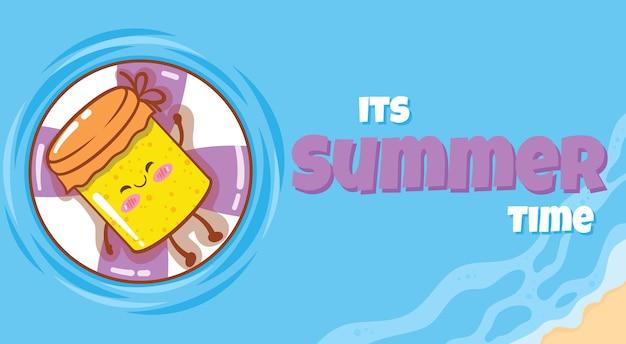 Geleia fofa flutuando e relaxando com uma bandeira de saudação de verão