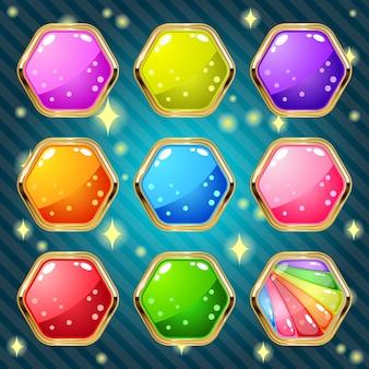Geléia hexagonal em ouro de borda para um jogo de quebra-cabeça. Vetor Premium