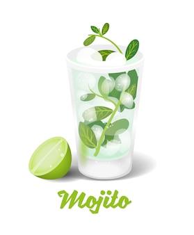 Gelo fresco congelado bebida alcoólica coquetéis bar mojito clássico cubano feito de rum suco de limão soda marrom cana açúcar hortelã fresca e gelo.