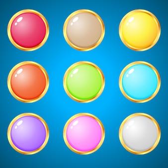 Gemas círculo 9 cores para jogos de quebra-cabeça.