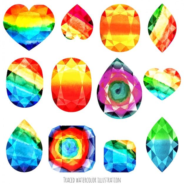 Gemas de cores do arco-íris