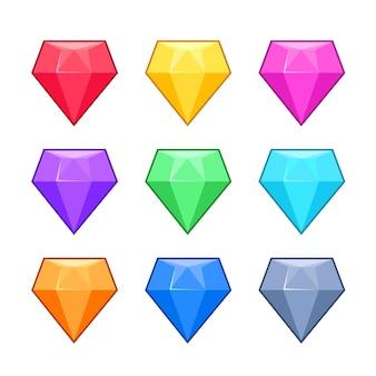 Gemas de cristal do diamante isoladas no grupo branco dos desenhos animados.