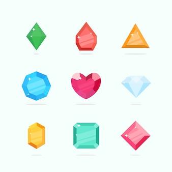 Gemas de vetor de desenhos animados e diamantes, definidos em um estilo simples em cores diferentes