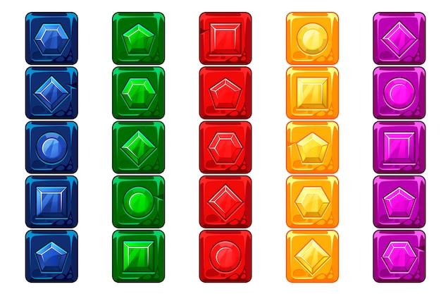 Gemas dos desenhos animados, botões multicoloridos da pedra do vecor para o jogo de interface do usuário