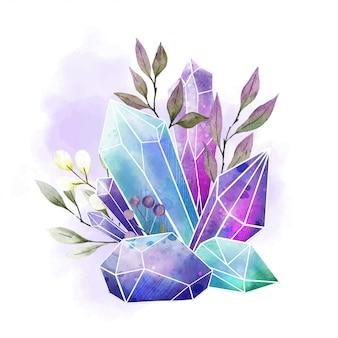 Gemas em aquarela, cristais e folhas, aquarela desenhada de mão