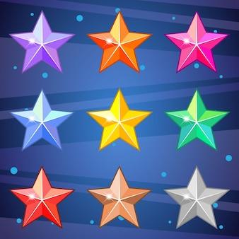 Gemas estrela brilhantes muito bonitos para jogo de quebra-cabeça.