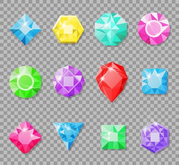 Gemas isoladas em transparente