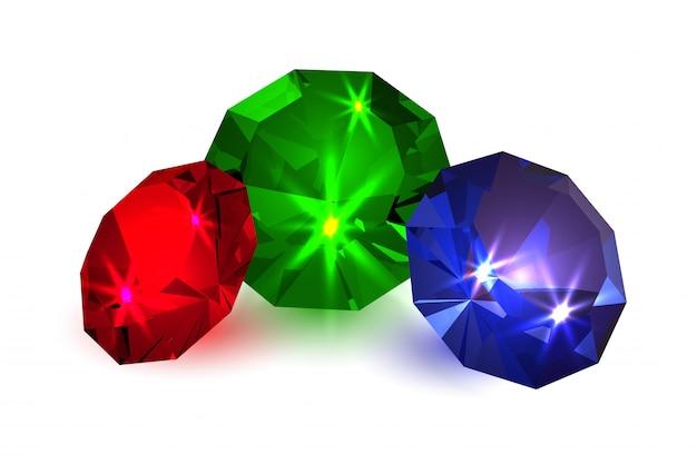 Gemas. jóias com diamantes coloridos