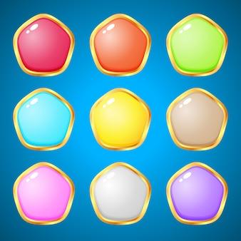 Gemas pentágono 9 cores para jogos de quebra-cabeça.