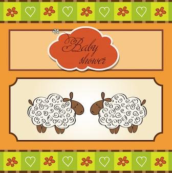 Gêmeos bebê fofo chuveiro cartão com ovelhas
