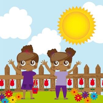 Gêmeos de crianças menina sobre ilustração vetorial de jardim