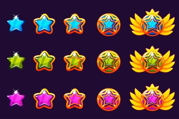 Gems concedem progresso. amuletos de ouro cravejados de jóias de estrelas. ativos de ícones para design de jogos.