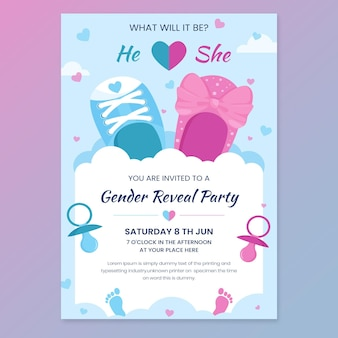 Gênero do desenho animado revelar modelo de convite