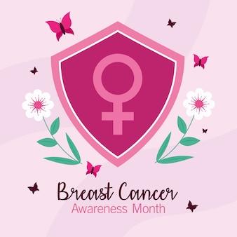 Gênero feminino de conscientização do câncer de mama no design do escudo, tema da campanha.