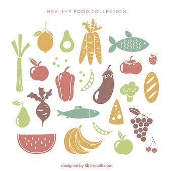 Géneros alimentícios vintage com cores diferentes