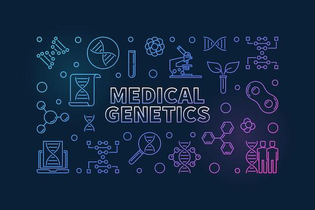 Genética médica delinear banner horizontal colorido