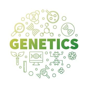 Genética vector rodada ilustração de contorno verde de biologia