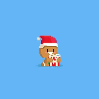 Gengibre bonito de pixel abraçar uma caixa de presente vermelha