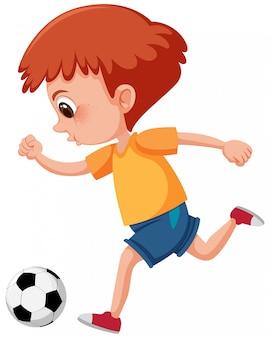 Gengibre, criança, chutando, um, bola futebol