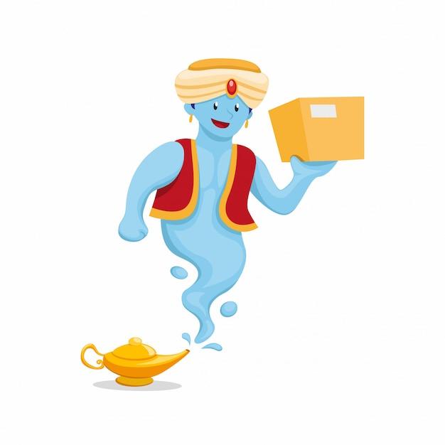 Gênio com lâmpada mágica carregando pacote, correio expresso de envio e entrega mascote no vetor de ilustração plana dos desenhos animados