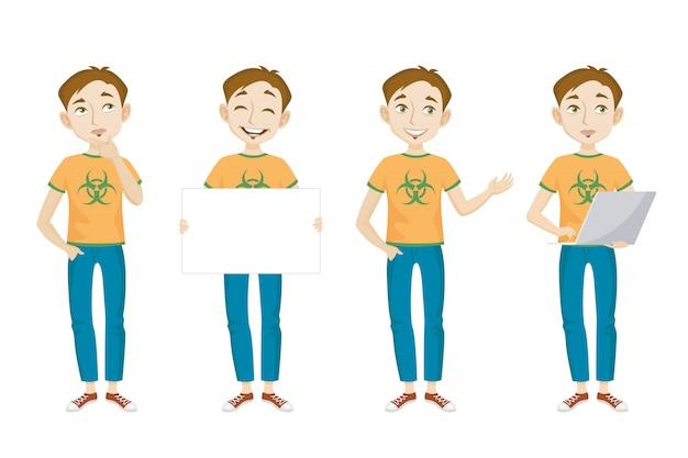 Gênio masculino em t-shirt com conjunto de caracteres de sinal de perigo bio