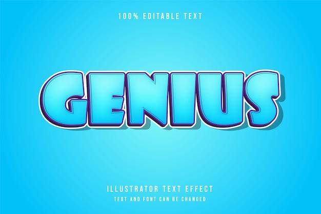 Genius, estilo de texto em quadrinhos azul roxo moderno com efeito de texto editável em 3d
