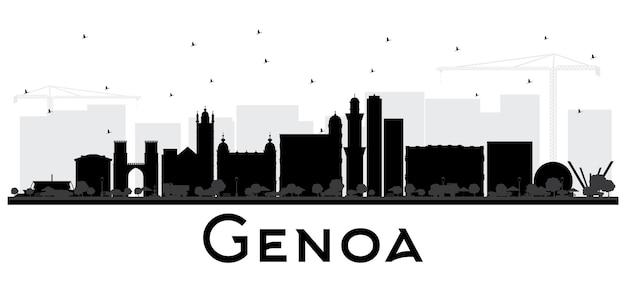 Gênova itália city skyline com edifícios pretos isolados no branco. ilustração vetorial. viagem de negócios e conceito de turismo com arquitetura moderna. paisagem urbana de gênova com pontos turísticos.
