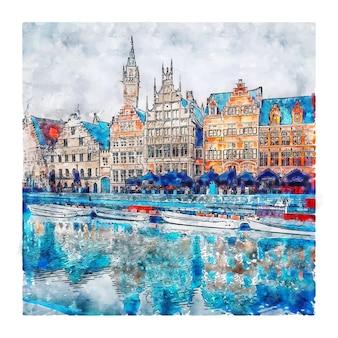 Gent belgium ilustração em aquarela de esboço desenhado à mão