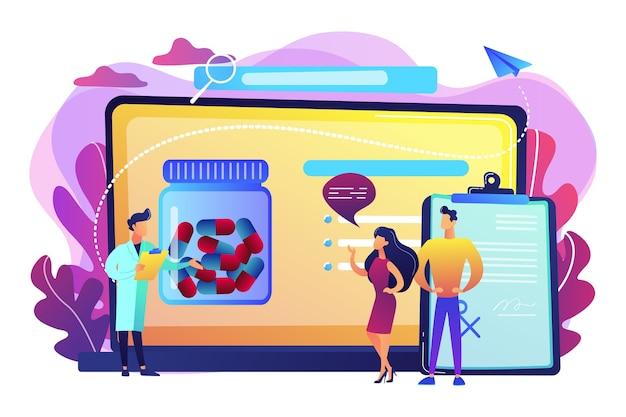 Gente pequena, médico prescrevendo remédios para pacientes online. sistema de prescrição online, sistema de gestão de prescrição, conceito de farmácia online. ilustração isolada violeta vibrante brilhante