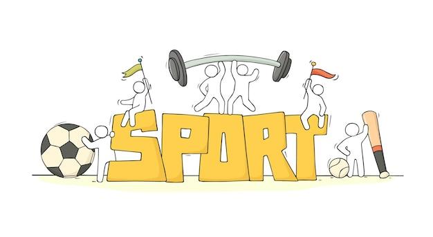 Gente pequenina com palavra esporte