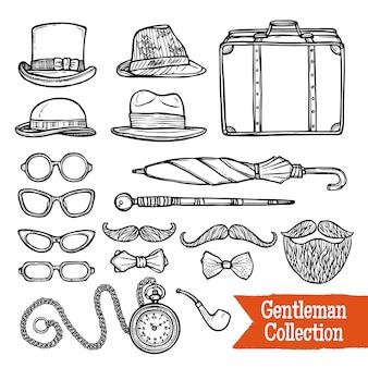 Gentelman vintage accessories doodle conjunto preto
