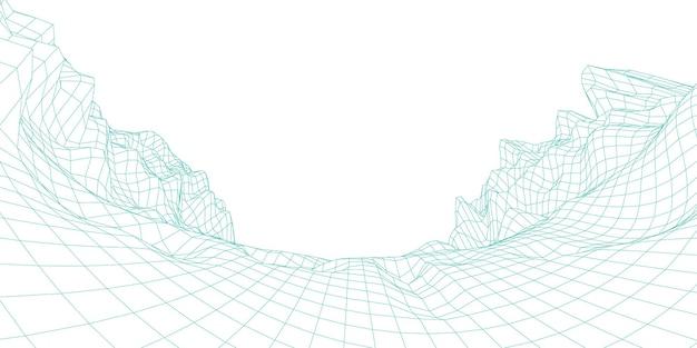 Geologia terrain, abstract 3d wire-frame landscape. estilo do projeto. renderização vetorial do modelo 3d.