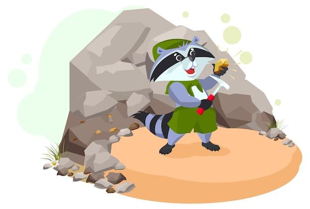 Geólogo explorador raccoon encontrou minério de cobre.