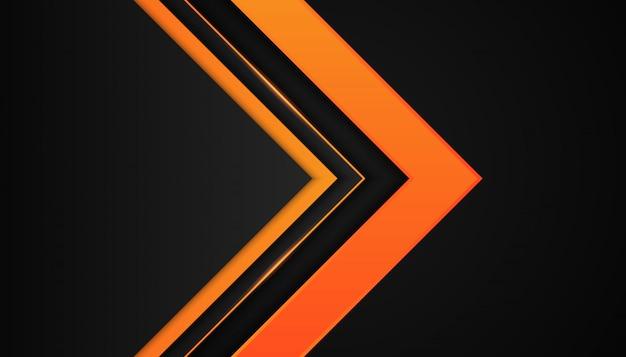 Geometria 3d moderna formas linhas pretas com bordas laranja em fundo escuro
