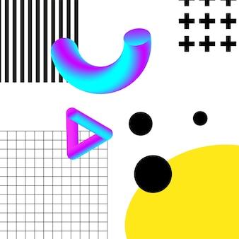 Geometria 3d vibrante e colagem abstrata de linhas. desenho vetorial para mídia social e conteúdo visual, web e ui design, pôsteres e colagem de arte, branding.