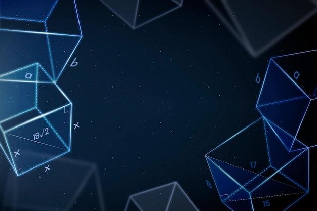 Geometria educação fundo azul vetor quadro disruptivo educação digital remix