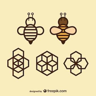 Geometria ícones abelha e do favo de mel