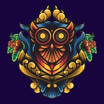 Geometria ornamental coruja