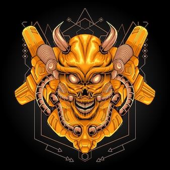 Geometria sagrada da ilustração do robô do crânio dourado