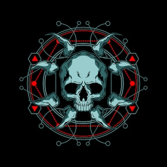 Geometria sagrada de crânio e osso