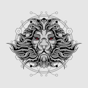 Geometria sagrada de leão final de prata