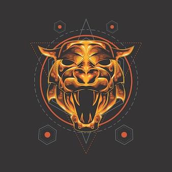 Geometria sagrada de tigre dourado