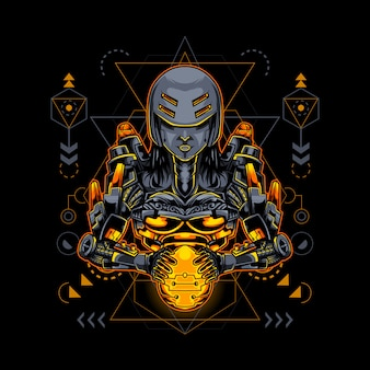 Geometria sagrada do estilo ciborgue robótico feminino
