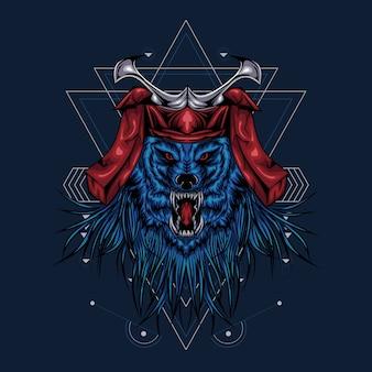 Geometria sagrada do gráfico da ilustração do samurai do lobo