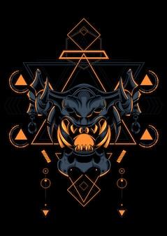 Geometria sagrada máscara diabo